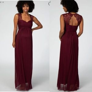 Pinkblush Burgundy Lace Open Back Maternity Dress